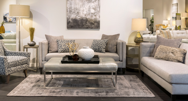 Living Room set with pattern print accent pillows