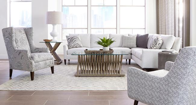 White print fabric living room set