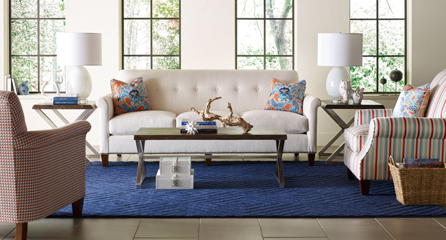Spring Living Room Furniture - white sofa and pastel accent chair