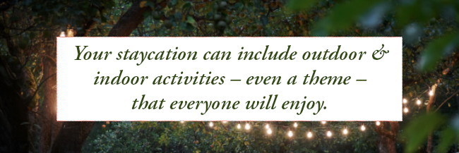 Your staycation will include outdoor & indoor activities - even a theme - that everyone will enjoy.