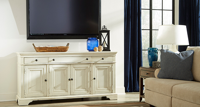 Optimal Viewing | TV Consoles let you watch, and store & display items in one unit