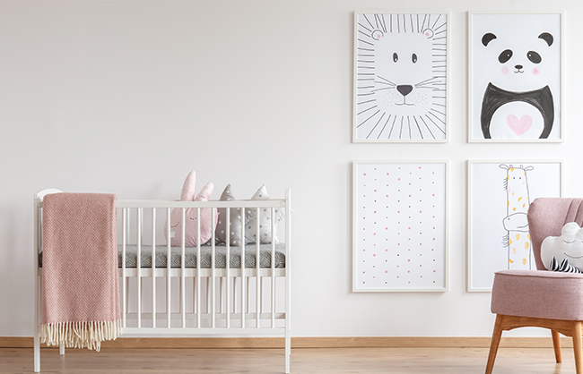 Artistic Wall Gallery with Framed Photos in Children's Room