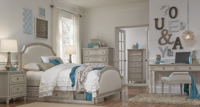 White bedroom set with pastel accents