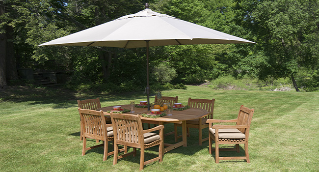Outdoor Patio Set with Dining Chairs and Umbrella