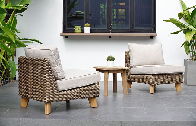 Patio chairs and side table