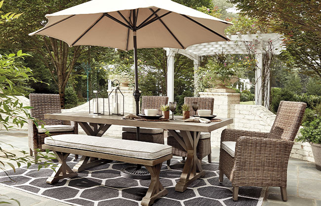 Patio dining chairs and table with umbrella