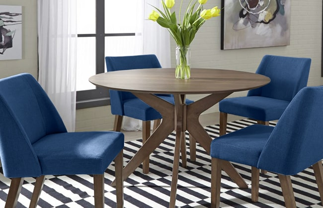 Dining room table with blue chairs