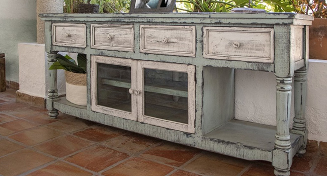 Southwestern Styled 4 Drawer Sideboard with Cabinet