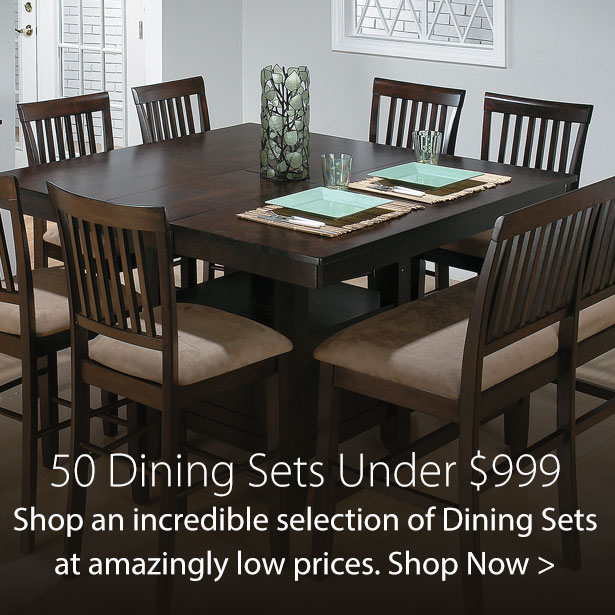 50 Dining Sets Under $999 at Jordan's Furniture stores in CT, MA, NH, and RI
