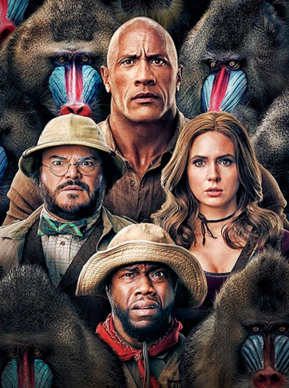 Jumanji: The Next Level in the Sunbrella IMAX 3D movie theaters in Jordan's Furniture in Natick and Reading Ma