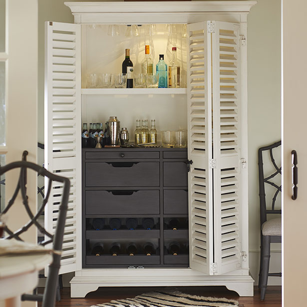 Dining Room Bar and Wine Storage at Jordan's Furniture stores in CT, MA, NH, and RI