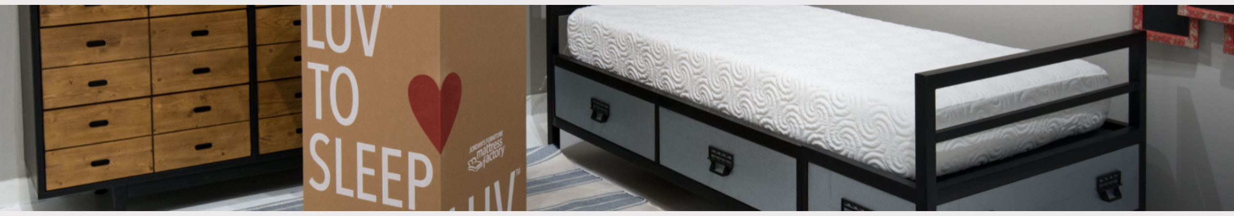 LUV To Sleep Bed in a Box at Jordan's Furniture stores in CT, MA, NH, and RI