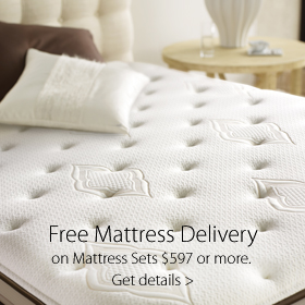 Free delivery with a mattress purchase over $597 at Jordan's Furniture stores in MA, NH and RI