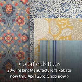 Colorfields Rugs 25% Manufacturers Discount 5/16/19  to 5/28/19  at Jordan's Furniture stores in CT, MA, NH, and RI