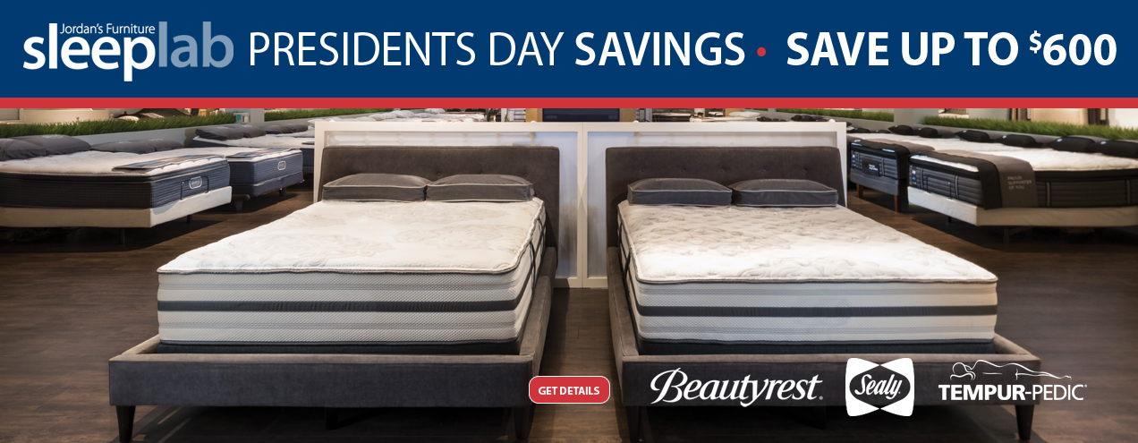 Save up to $600 on select mattresses at Jordan's Furniture stores in CT, MA, NH, and RI