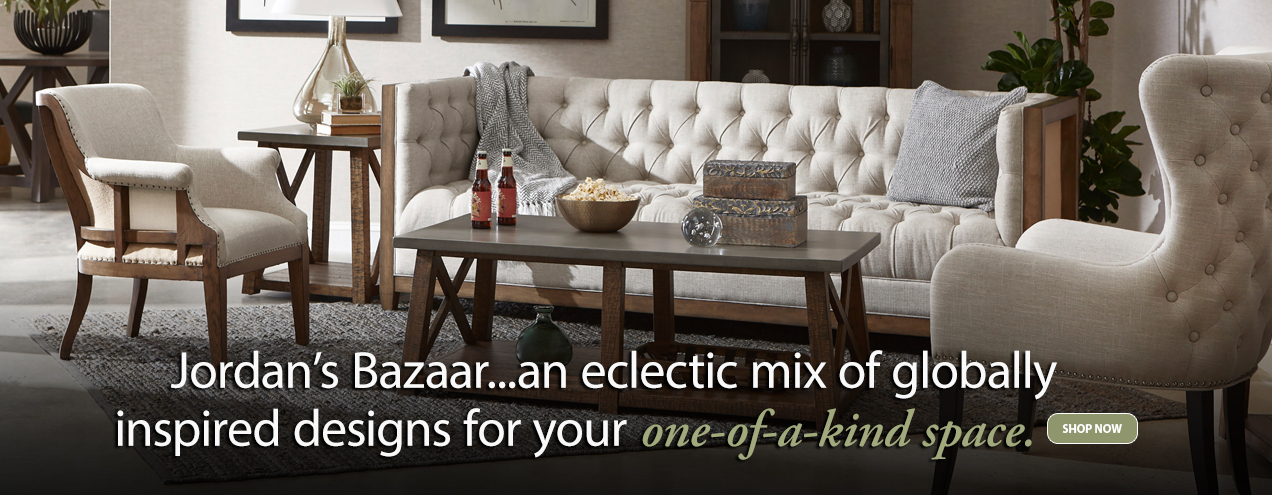 Jordan's Bazaar ... an eclectic mix of globally inspired designs for your one of a kind space - Jordan's Furniture stores in CT, MA, NH, and RI