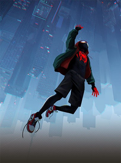 Spider-Man: Into the Spider-Verse in the Sunbrella IMAX 3D movie theaters in Jordan's Furniture in Natick and Reading Ma