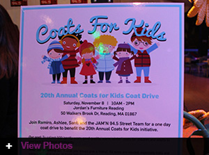 Jordan's hosts Coats For Kids event with Jam'n 94.5 Morning Crew in the Reading store
