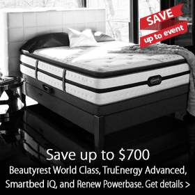 Save up to $700 on Simmons Beautyrest mattresses at Jordan's Furniture stores in MA, NH and RI