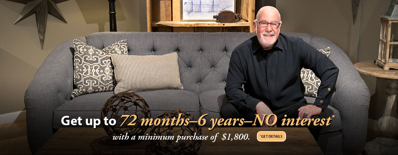 72 month financing available at Jordan's Furniture stores in MA, NH and RI