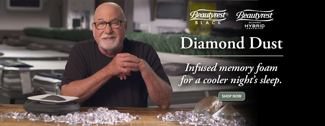 Diamon dust infused memory foam for a cooler night's sleep at Jordan's Furniture stores in MA, NH and RI