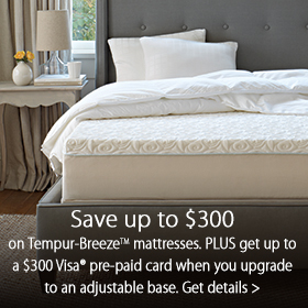 Save up to $300 on TEMPUR-Breeze™ Mattresses at Jordan's Furiture stores in MA, CT, NH and RI