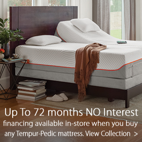 72 month financing when purchasing a Tempur-Pedic mattress at Jordan's Furniture in MA, NH, RI and CT