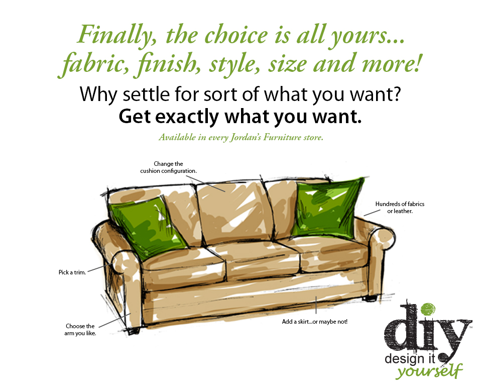 Design it Yourself at Jordan's Furniture stores in CT, MA, NH and RI
