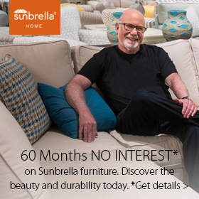 Up to 60 Months No Interest on Sunbrella products at Jordan's Furniture stores in CT, MA, NH and RI