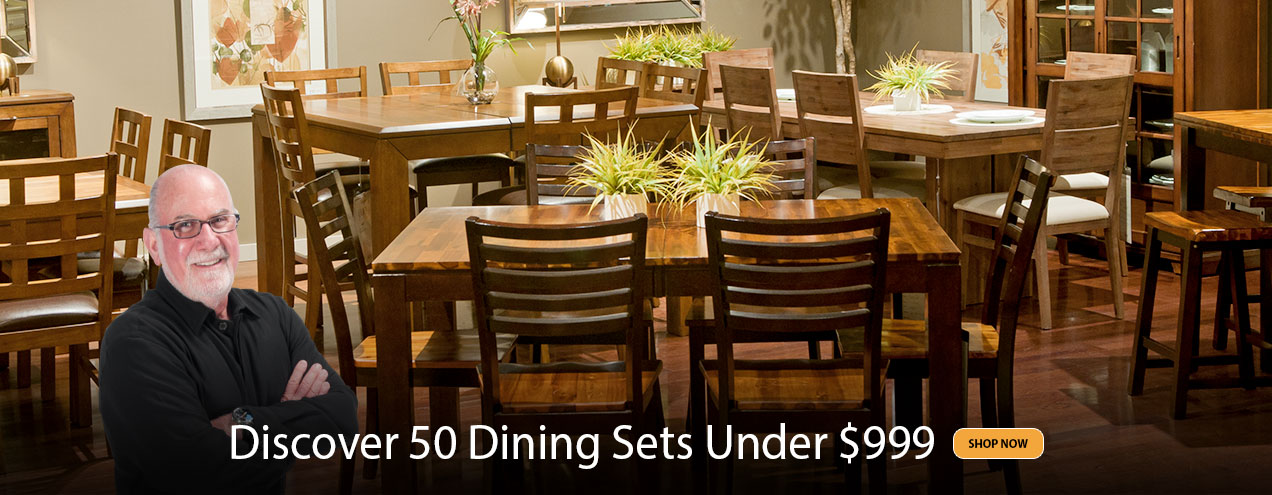 50 Dining Sets Under $999 at Jordan's Furniture stores in CT, MA, NH and RI