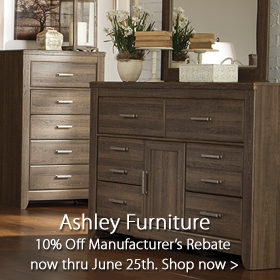 Ashley Furniture 10% Off Manufacturer's Rebate now through June 25 at Jordan's Furniture stores in CT, MA, NH and RI