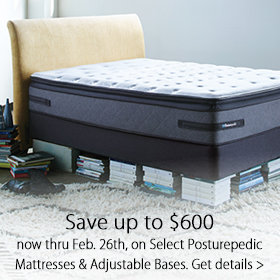 Save up to $600 on select Posturepedic Mattresses and Adjustable Bases at Jordan's Furniture stores in CT, MA, NH and RI