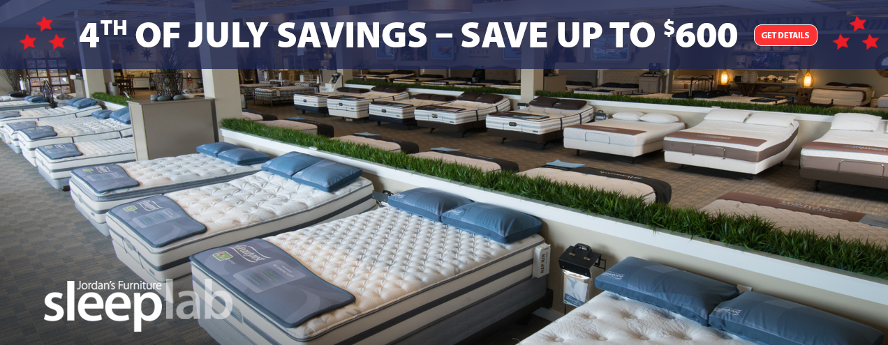4th of July Mattress savings at Jordan's Furniture stores in CT, MA, NH, and RI