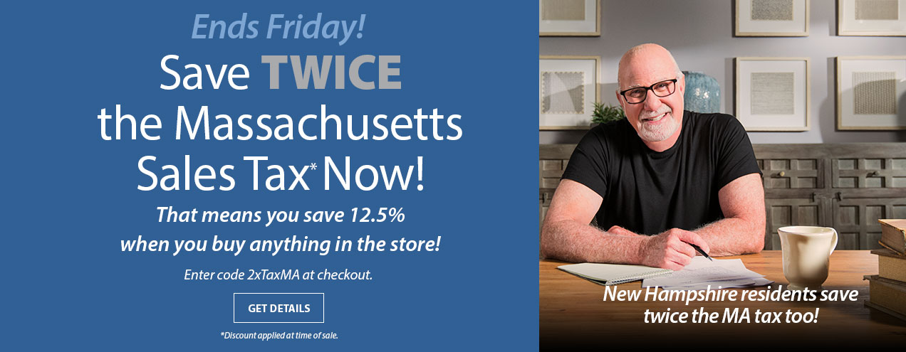 Save Twice the Sales tax at Jordan's Furniture stores in New Haven CT, Avon MA, Natick MA, Reading MA, Nashua NH, and Warwick RI