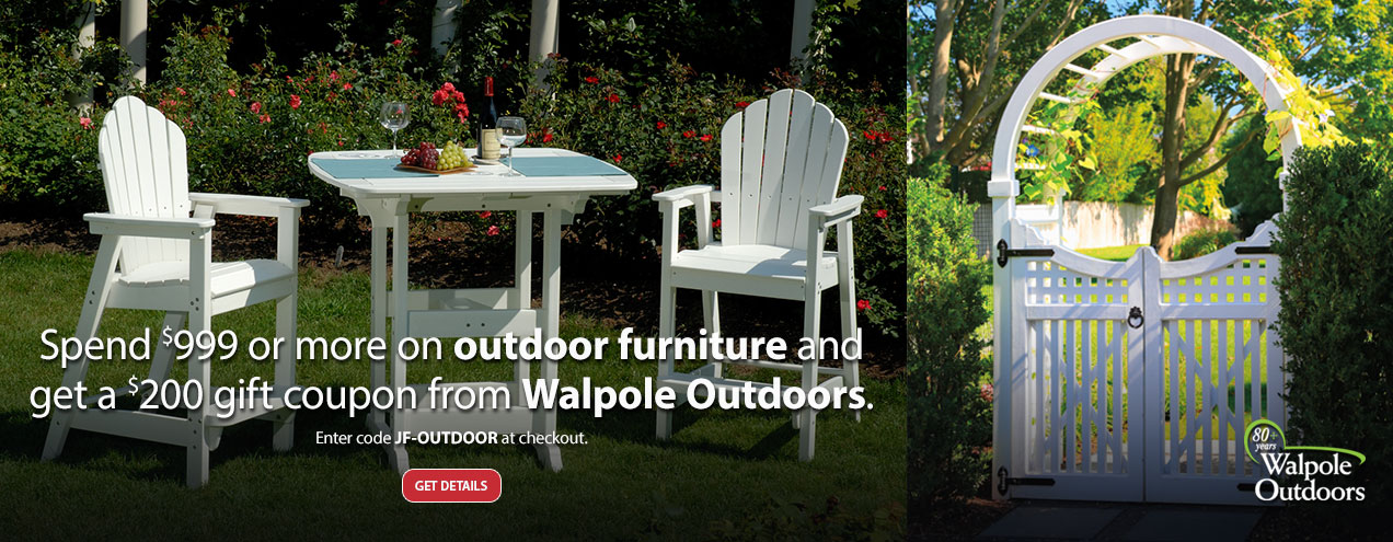 Get a $200 Gift Card to Walpole Furniture when you purchase $999 or more on Outdoor Furniture at Jordan's Furniture stores in MA, NH and RI