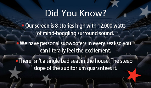 IMAX 3D Theater at Jordan's Furniture stores in Natick and Reading MA