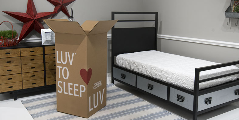 LUV and LUV'N boxed mattresses at Jordan's Furniture stores in CT, MA, NH and RI